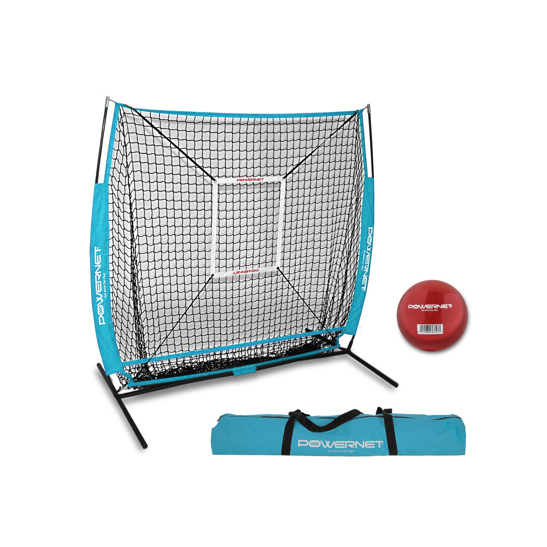 PowerNet 5x5 Practice Net + Strike Zone + Weighted Training Ball Bundle (Sky Blue) | Baseball Softball Coaching Aid | Compact Lightweight Ultra Portable | Team Color | Batting Screen by PowerNet