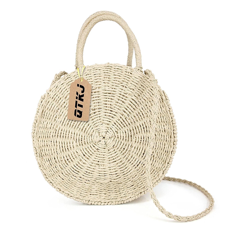 be4dc21b2872 Women Straw Summer Beach Bag Handwoven Round Rattan Bag Cross Body Bag  Shoulder Messenger Satchel (beige)  Amazon.ca  Shoes   Handbags