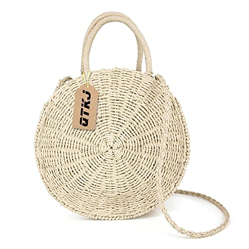 230f470e2f Women Straw Summer Beach Bag Handwoven Round Rattan Bag Cross Body Bag  Shoulder Messenger Satchel (
