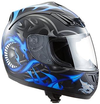 Protectwear Casco de moto azul mate del dragón H-510-11-BL Tamaño