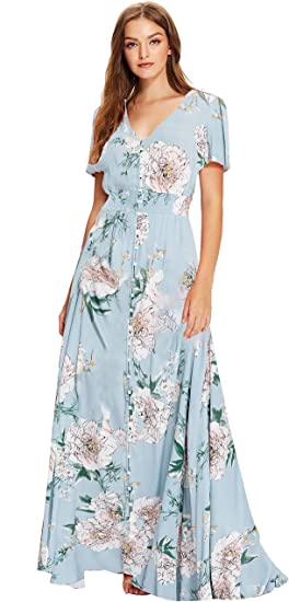 Vintage Dark Green Floral Dress with cinched waist and buttons