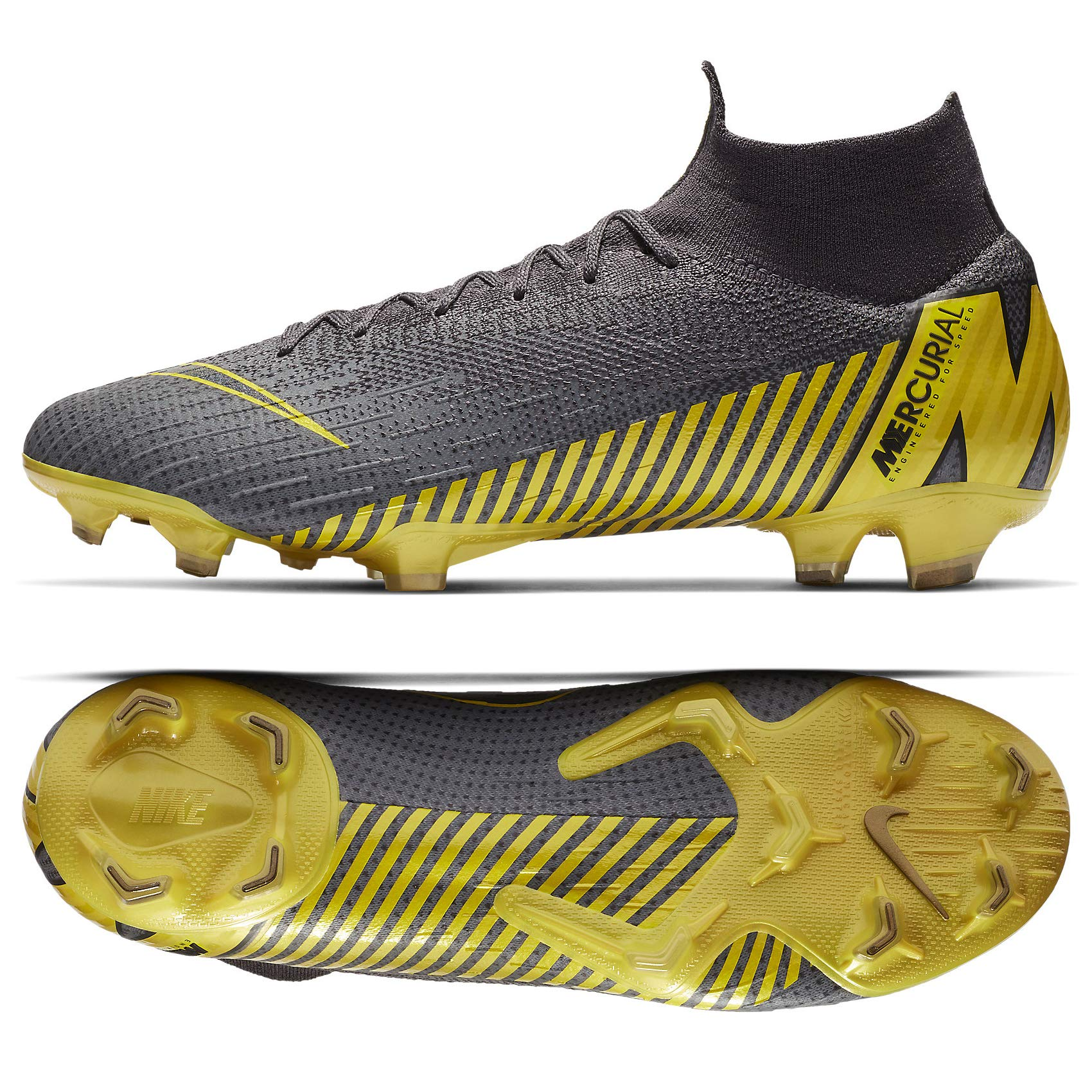 Nike Unisex Adults Mercurial Superfly 6 Elite FG Soccer Cleats Grey Yellow AH7365 070 (10)