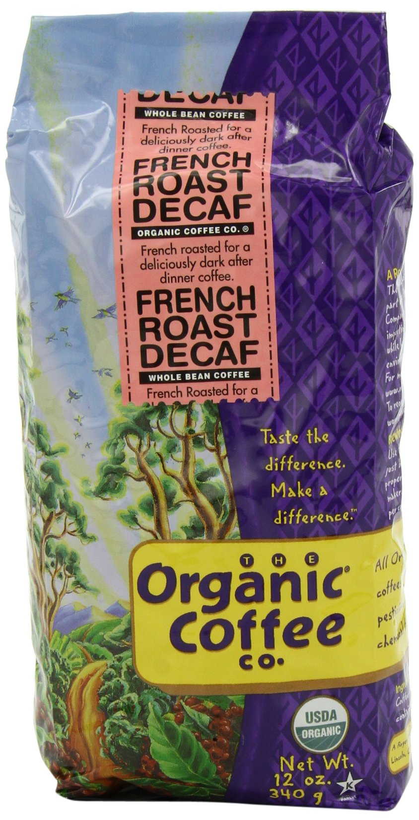 The Organic Coffee Co. Whole Bean, Decaf French Roast, 12 Ounce (Pack of 3) by The Organic Coffee Co.