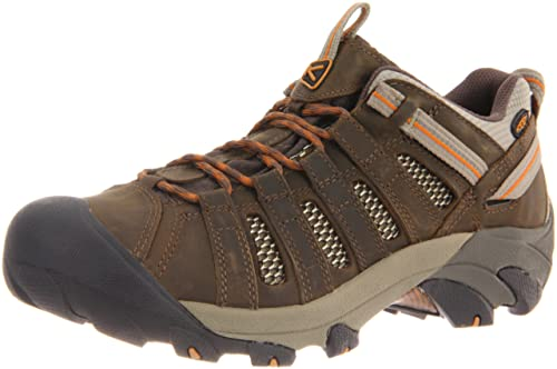 KEEN Men's Voyageur Trail Shoe,Black Olive/Inca Gold,7 M US
