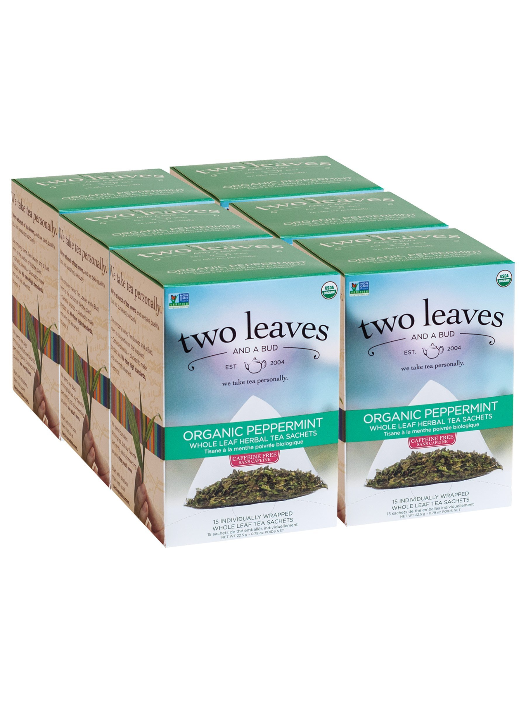 Two Leaves and a Bud Organic Peppermint Herbal Tea Bags, 15 Count (Pack of 6) Organic Whole Leaf Herbal Tea in Pyramid Sachet Bags, Delicious Hot or Iced with Milk or Sugar or Honey or Plain