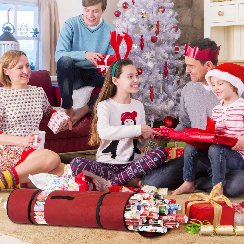 Scatola per Carta da Imballaggio a 100CM Sunkorto Borsa Organizer Porta Carta Regalo Natale Organizzatori per Fogli Rotoli Carta Regalo Decorazioni Natalizie Sacchetto Carte Biglietti Regalo Festa