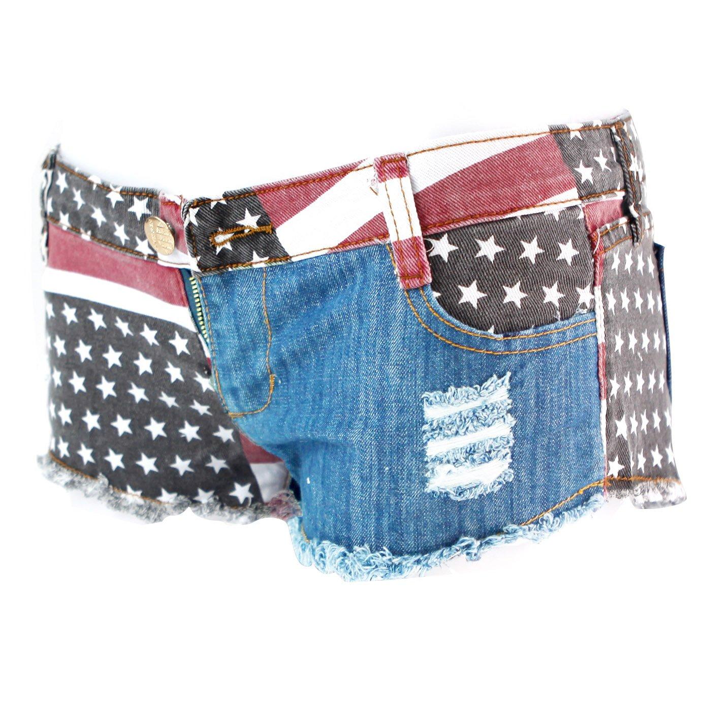 Fashion Story Hot Pants Mini Jeans Shorts Women American US Flag Denim at  Amazon Women s Clothing store  f7b2273a6f3