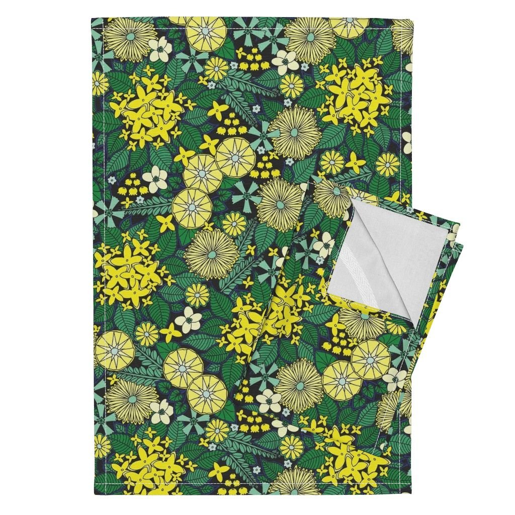 Flower Nature Floral Leaves Plant Blossom Spring Tea Towels Wild Wallflowers (Yellow) by Robyriker Set of 2 Linen Cotton Tea Towels