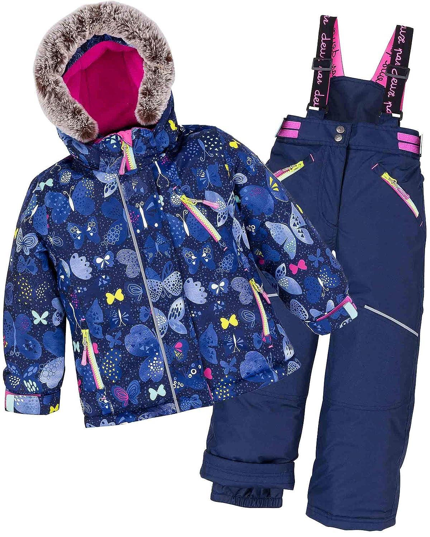 Deux par Deux Girls' 2-Piece Snowsuit Frosted Butterfly Navy, Sizes 4-14