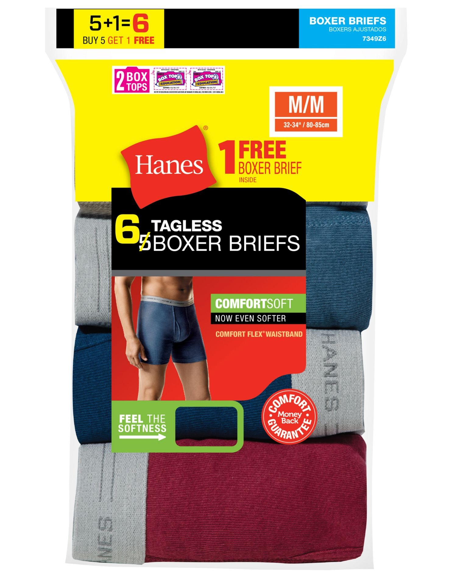 Hanes Men's TAGLESS Boxer Briefs with Comfort Flex Waistband 6-Pack, Assorted, Large