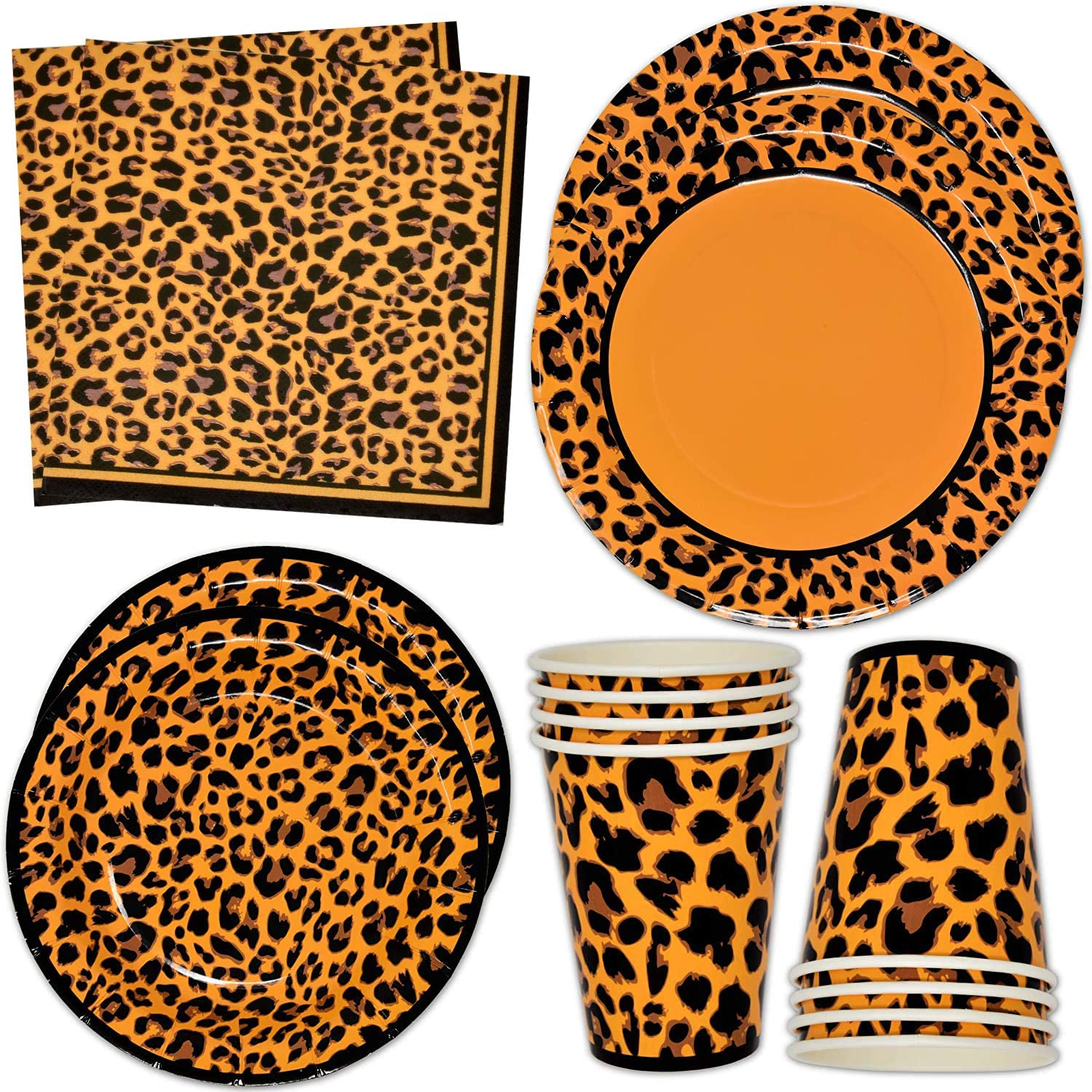 Leopard Print Party Supplies Tableware Set 24 9