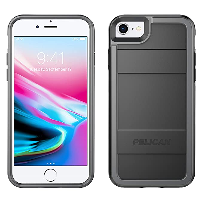 quality design e45d6 c792c Pelican iPhone Case - fits iPhone 8, iPhone 7, iPhone 6S, iPhone 6 (Black  Light Gray)
