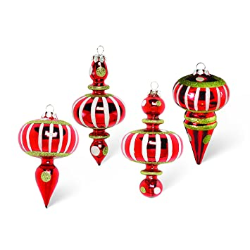 Whimsical Christmas Ornaments.K K Interiors Red Whimsical Striped Dots Final Christmas Ornaments Set 4
