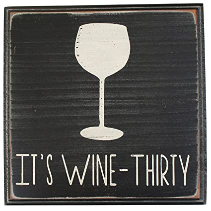 Amazon.com: It\'s Wine Thirty Vintage Wood Sign for Wall Decor, Wet ...