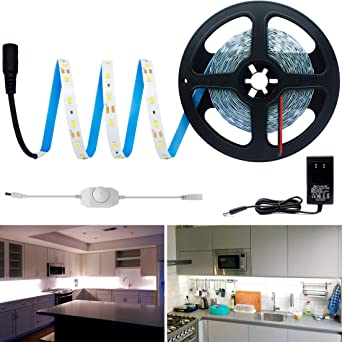 HitLights Warm White 16.4Ft//5m LED Strip Kit 3000K 72 Lumens per Foot 300 LEDs 12V DC Tape Light for Under Cabinet Includes UL Power Supply and Mini Dimmer Dimmable LED Strip Lights Kitchen