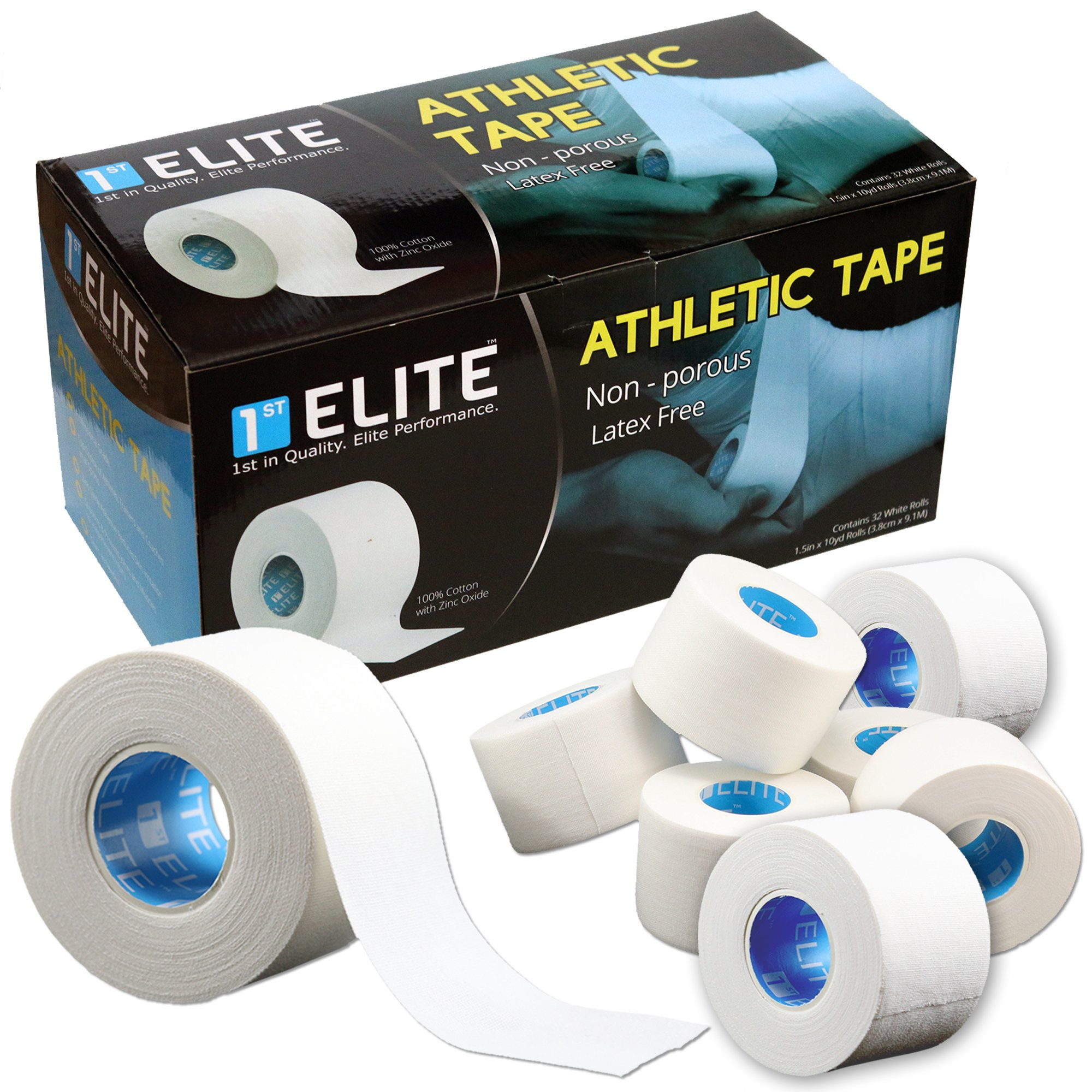 1st Elite Professional Athletic Tape for Elite Athletes Sports & Athletics - White Medical Grade Tapes to Wrap Finger Bat Prewrap (Bulk) by 1st Elite