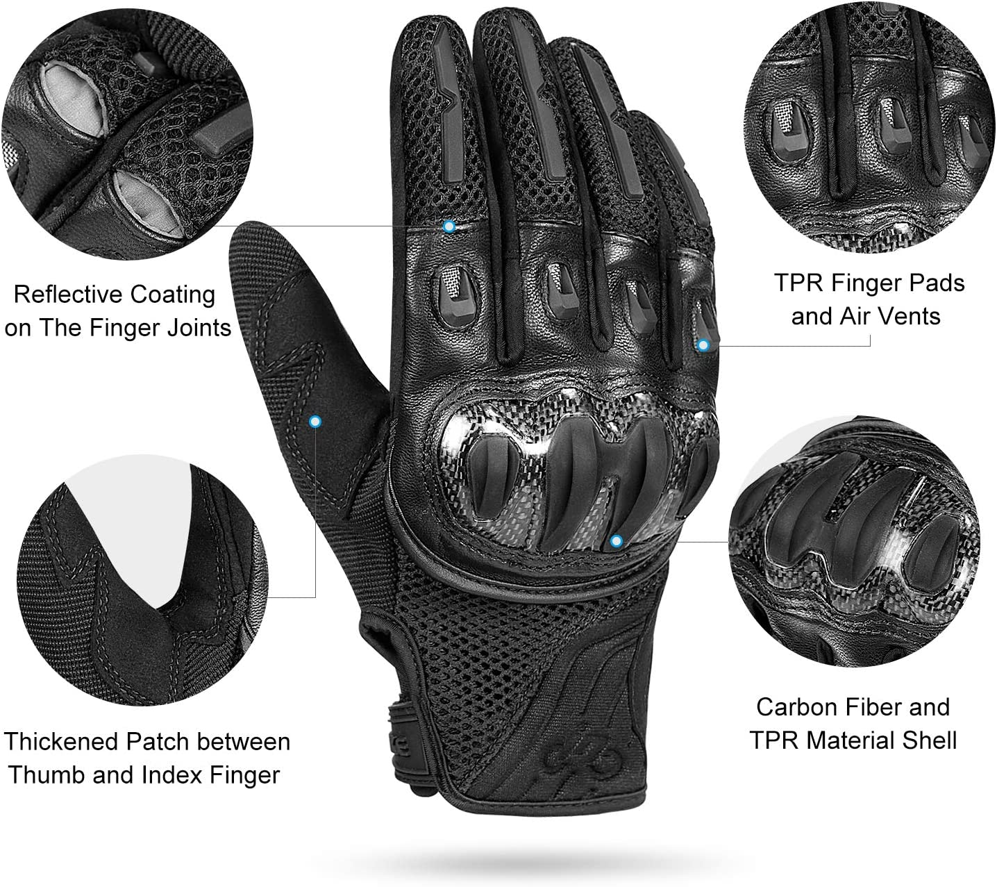INBIKE Protective Motorcycle Riding Gloves for Men Carbon Fiber Touch Screen Joint Support TPR Finger Pads Black X-Large
