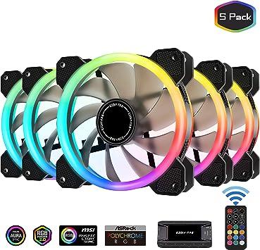 EZDIY-FAB Ventiladores RGB de Doble Anillo de 120mm,5V Motherboard Sync,La Velocidad es Ajustable,RGB Sync Fan con 10-Port Fan Hub X y Remote-5 Pack: Amazon.es: Electrónica