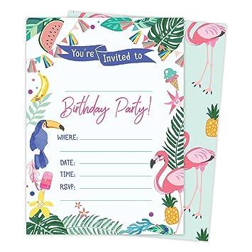 Amazon Com Hawaiian Hi Maui Tropical Happy Birthday Invitations