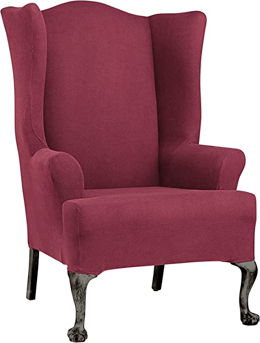 SureFit Simple Stretch Twill- Wing Chair Slipcover- Burgundy (SF44474)