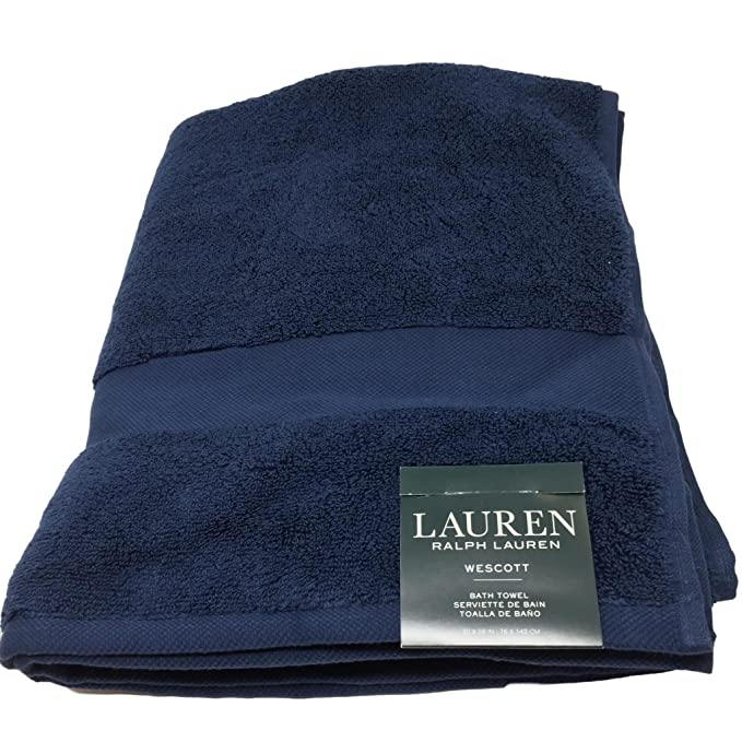 Amazon.com: Lauren Ralph Lauren Wescott Bath Towel Club Navy 30 x 56: Home & Kitchen