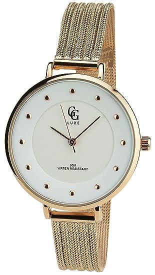 Reloj Mujer GG LUXE Plata Cuarzo Caja de Acero Pantalla Analógica Pulsera Acero Rosa: Amazon.es: Relojes