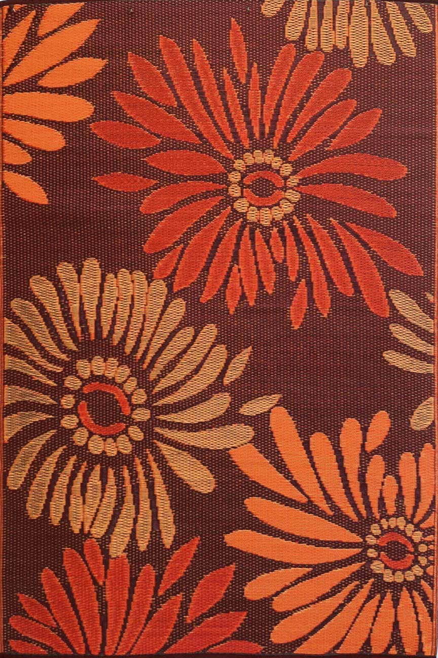 Mad Mats Daisy Indoor Outdoor Floor Mat 4 x 6 , Rust