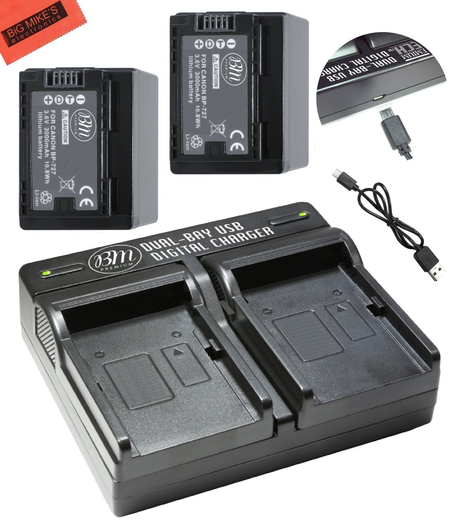 BM Premium 2 BP-727 Batteries and Dual Charger for Canon Vixia HFR80 HFR82 HFR800, HFR70, HFR72, HFR700, HFR32, HFR300, HFR40, HFR42, HFR400, HFR50, HFR52, HFR500, HFR60, HFR62, HFR600 Camcorder by BM Premium