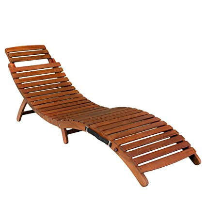 Charmant Acacia Wood Outdoor Sunbathing Pool Or Patio Chaise Folding Lounge Chair