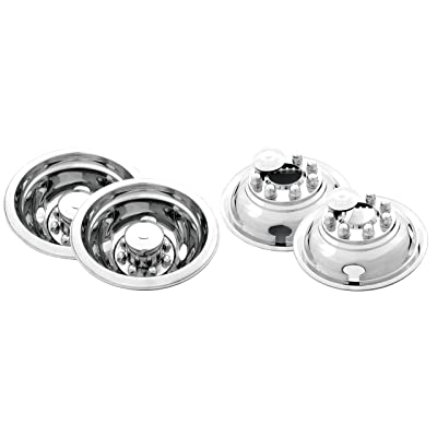 "Kaper II SS-1604-EZNU Polished Stainless Steel Universal Truck Wheel Simulator Set for Chevrolet/Ford/Dodge (16"" x 6"" 6.5"" Bolt Circle 8 Lug 4 Hand Hole, Pop Off for 4 Wheels Drive Hubs): Automotive"