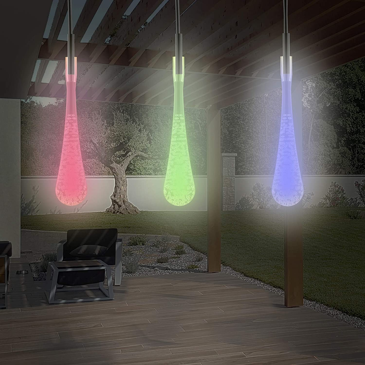 Pure Garden 50-LG1016 String Set of 2 30 Bulb Solar Power Outdoor LED Decor Tear Drop Lighting with 8 Modes and Rechargeable Battery (Multi-Color)