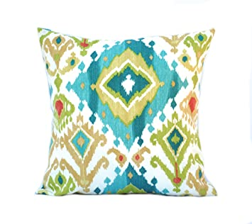 1 Ikat Blue Green Red Patterned Pillow Cover, 20x20 Cushion, Decorative  Throw Pillow,