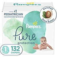 Diapers Size 1, 132 Count - Pampers Pure Protection Disposable Baby Diapers, Hypoallergenic and Unscented Protection…