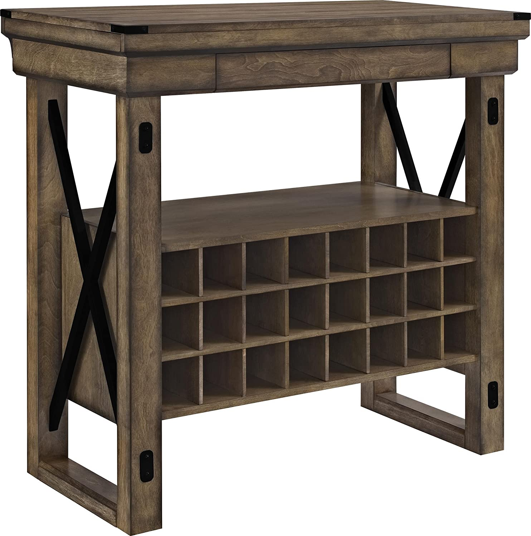 Amazon com altra furniture wildwood wood veneer bar cabinet rustic gray kitchen dining