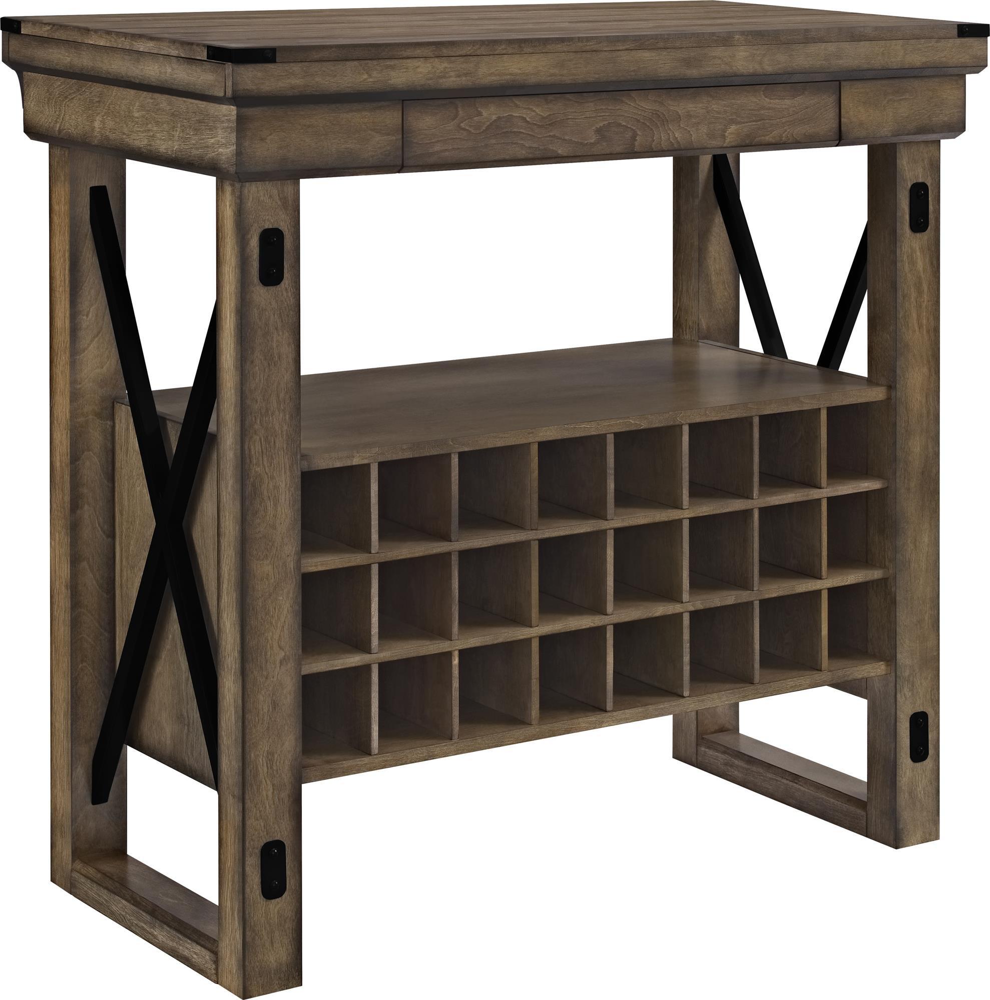 Altra Furniture Wildwood Wood Veneer Bar Cabinet, Rustic Gray