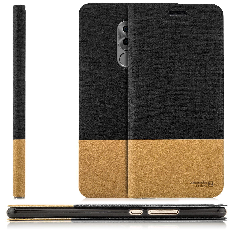 Custodia Huawei Honor 6X Cover Flip Wallet [Zanasta Designs] Case Copertura con Portafoglio - Pieghevole con Porta Carte, Alta Qualità | Rosso marrone 4251256784145