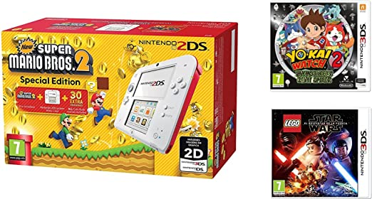 Consola Nintendo 2DS Roja + New Super Mario Bros 2 + Yo-Kai Watch ...