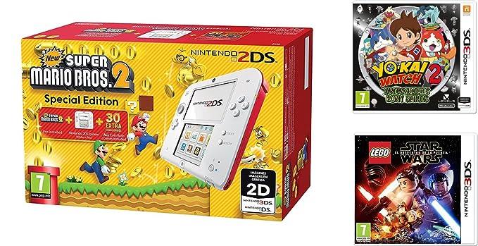 Consola Nintendo 2DS Roja + New Super Mario Bros 2 + Yo-Kai ...