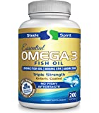 Fish Oil Omega 3 Supplement - Triple Strength For Maximum Support of Your Immune, Brain, Heart & Joint Health - Non-GMO - 200 Burpless Capsules - By Steele Spirit