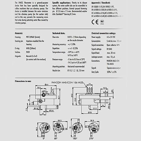 digmesa fhksc Sensor de flujo/medidor con 1,8 mm de boquilla (fabricada en Suiza) para máquinas de café. Para dispensadores de bebidas, productos químicos, ...