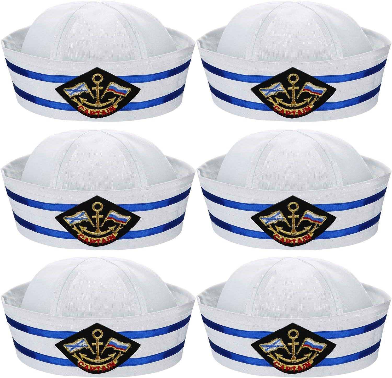 6 Piezas Sombrero de Marinero Blanco y Azul Capitán Gorro Sombreros Náuticos de Yates para Disfraz de Adulto Marinero, Gorro de Fiesta de Disfraces
