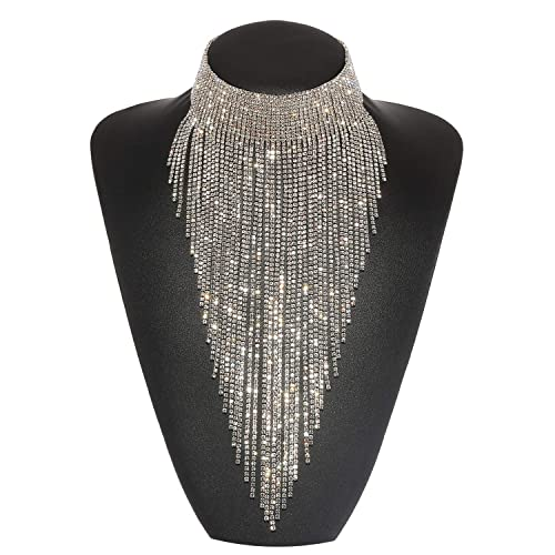 Holylove Statement Necklace for Women Tassel Collar Crystal Necklace Set  Novelty Fashion Jewelry 3 Colors with 407c1842f9