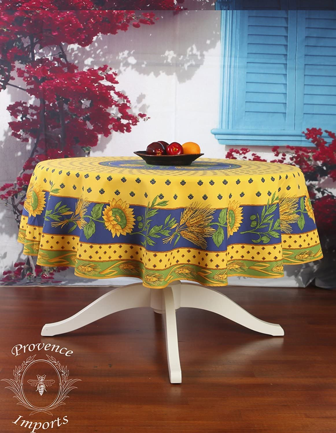 "Tournesol Yellow 70"" Round French Provencal Polyester Tablecloth: Home & Kitchen"