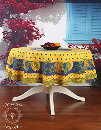 Tournesol Yellow 70u0026quot; Round French Provencal Polyester Tablecloth