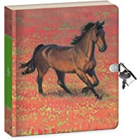 """Peaceable Kingdom Wild Horse 6.25"""" Lock and Key, Lined Page Diary for Kids"""