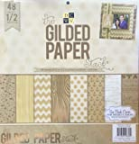 """American Crafts x inch Gilded Paper 48 Sheets Die Cuts with a View Stacks, 12"""" x 12"""""""