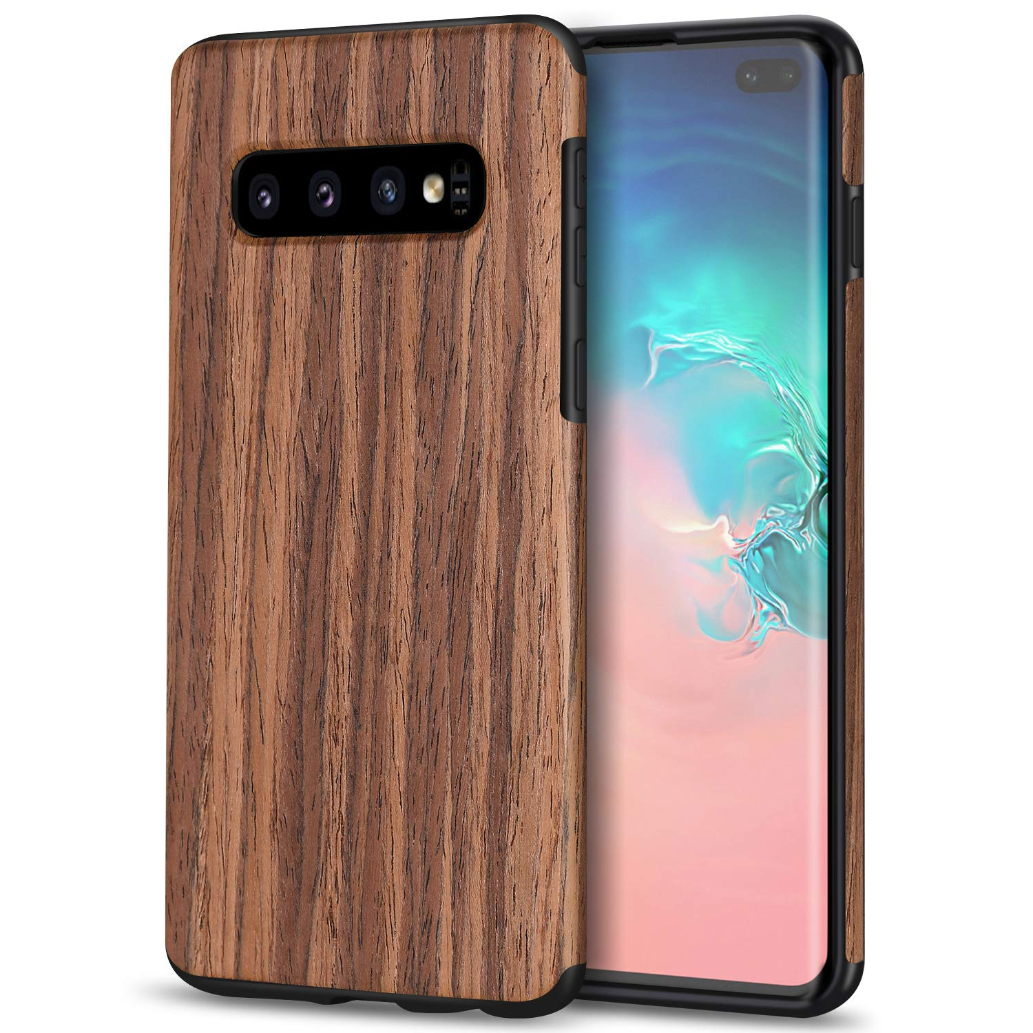 TENDLIN Galaxy S10 Plus Case Wood Grain Design and Flexible TPU Silicone Hybrid Slim Case Compatible with Samsung Galaxy S10+ (Red Sandalwood)