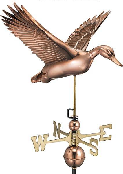 Good Directions Flying Duck Weathervane Pure Copper Garden Outdoor