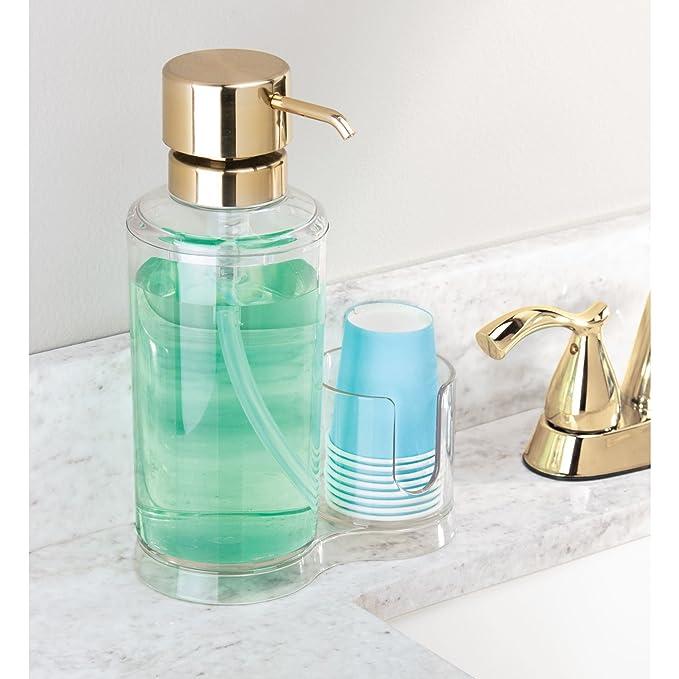 mDesign Dispensador de enjuague bucal con portavasos - Expendedor de plástico para enjuague con 8 vasos pequeños - Prácticos accesorios para baño para la ...