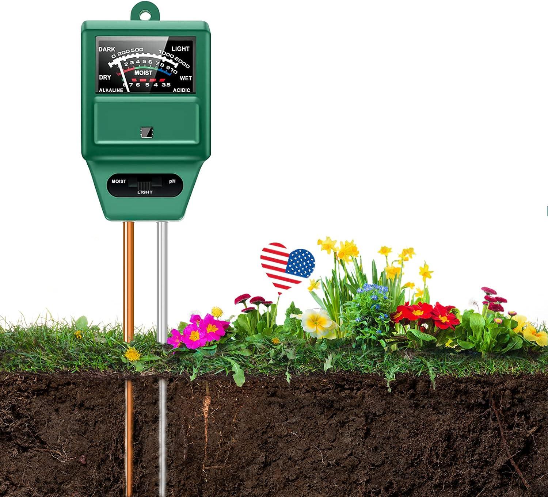 Tuecota Soil pH Meter, Soil Moisture Meter, 3-in-1 Digital Soil Tester Kits with Soil Moisture/Light/pH, Gardening Tool Kits for Plant Care, Great for Home and Garden, Lawn, Farm, Indoor & Outdoor Use